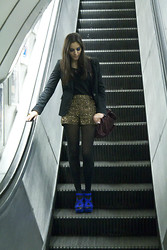 Judit Saorin - Topshop Heels, Topshop Short, Zara Blazer - Electric Blue heels and Sparkling Gold shorts.