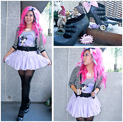 Stephiee Nguyen - Tokyo, Japan Purple Candy Ring, Locketship Cat's Cradle Ring, Tokyo, Japan Grey Sparkle Bow Ring, 6%Dokidoki Kawaii Sensational Necklace, H&M Minnie Bodysuit, Seoul, Korea Black Lace Bow Belt, Bodyline Lavender Purple Skirt, Tokyo, Japan Bow Polkadot Stockings, Jessica Simpson Iridescent Gunmetal Booties, Tarina Tarantino Alice Sparkle Bow - Dainty Minnie Dancer