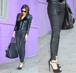 Frankie Hearts Fashion - Brian Atwood T Strap Pumps, Givenchy Bag, Alexander Wang Leather Jacket - Edge