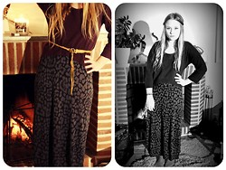 Linnéa B - Monki Maroon Cropped Sweater, H&M Animal Print Maxi Dress, Diy Cut Up Belt - Where the wild things are
