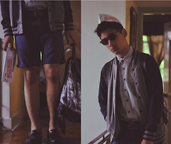 Jehan R. - Tie Dyed Rucksack, Loafers, Krispy Kreme Hat, Button Down, Penshoppe Varsity Jacket, Sunnies, Topman Belt, Topman Shorts - EAT