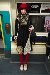 Chia Wen - Monki Jane Hat, Oasis Navy Bag, Victim Fashion Street Coat, Topshop Shoes - LFW day 1, nearly lost my hat