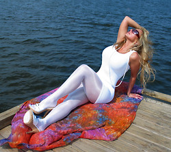 Sweet Ratcliff - Flirt Spandex Mini Dress, Charnos Sheer Lustre Tights - Date Night in White
