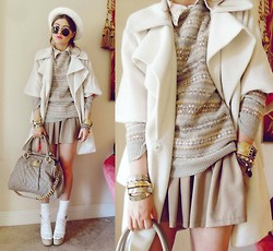 Bebe Zeva - Oh My Frock White Ruffle Lapel Coat, Ralph Lauren Gray Sweater, Romwe Khaki Shorts, Marc By Jacobs Quilted Bag, Nine West Espadrilles - NEUTRAL SCALE
