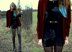 Charlotte Cox - Velvet Dress, Velvet Blazer, Primark Tights, Ego Leather Shoes - Ode to Vintage