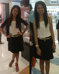 Princess Manuel - Grove Top Tank, Mba Black Cardigan, Pretty Bow Belt, Yooper Gladiator Like Wedge - Happy Sunday :)
