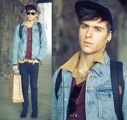 Adam Gallagher - Friend Zachs! Leather Bill Cap, Thrifted Gold Shirt, Insight Jean Jacket, American Apparel Purple Sweater - Jersey & gold