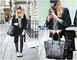 Camille Charrière - H&M Leather Baseball Cap, Céline Bag - London Fashion Week - Day 1