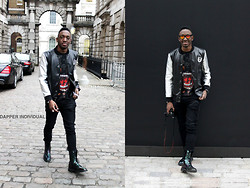 Femi Arogundade - Balmain Silver Vasity Jacket, Givenchy Rotweiler Tee, Dr. Martens Petrol Langston Boots - London fashion week ss12  day 1