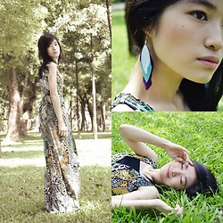 Kayley See - Armani Exchange Boho Maxi Dress, Tri Colored Feather Earrings - There's No Turning Back.