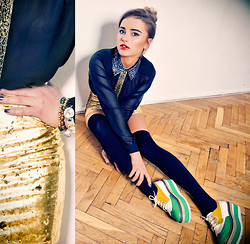 Juliett Kuczynska - Gold Skirt, Shirt - Ra Ra Riot - Boy (RAC Mix)  / maffashion