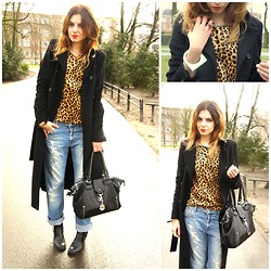 Trendbutter - Zara Black Long Coat, Zara Leopard Top, Eleven Paris Boyfriend Jeans, Cos Bracelet, Cos Ring, Nelly White Label Ankle Boots - The leopard