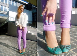 Nadia Sepulveda - Armani Exchange Lilac Jeggings, Zara Mint Snake Shoes - The girl who wished to be a lady