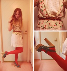Linnéa B - H&M Cherry Cardigan, Indiska White Dress, Monki Red Tights, Atmosphere Green Polkadot Plateaus - Cherry on top
