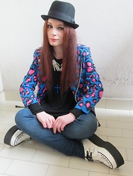 Federica D - Super Lovers Rider Jacket, Tuk Creepers - Sitting in a corner