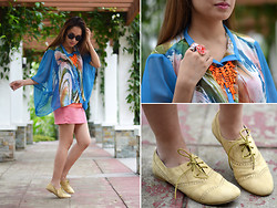 Laureen Uy - H&M Sunnies, Miss Pinky Binky Top, Extreme Finds Necklace, H&M Skirt, Tltsn Shoes - Swirls (BMS)