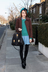 Ella Catliff - Hobbs Ponyskin Chelsea Boots, Topshop Beret, Topshop Denim Shirt Dress, Whistles Green Chunky Knit Sweater, Whistles Tweed Coat, Mulberry Tote - London Fashion Week Day 4