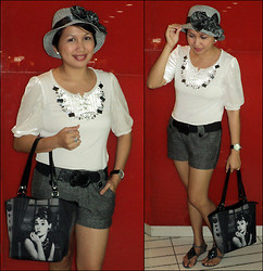 Ms. Chique - Sm Bucket Hat, Timex Cubic Zirconia Studded Watch, Love Vintage Audrey Bag, Solemate Beaded Sandals, Parkmall Wool Shorts, Chicago Black Belt, Tulip Beaded Blouse W/ Velvet Sleevs - A Date with Audrey Hepburn