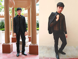 James Jason Martin - Onésimus Pinstripe Semi Fit Blazer, Pierre Cardin Mustard Bow Tie, Penshoppe Black Slim Fit Jeans, Mario D' Boro Black Leather Dress Shoes, Custom Tailored Sheer Button Down - Formal seduction
