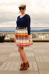 Stacey L - Men's Hat, Anthropologie Blue Sweater, Urban Outfitters Striped Skirt, Tj Maxx Brown Boots - Rushing around