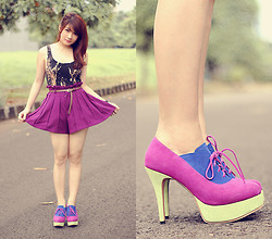 Anastasia Siantar - Evil Twin Solar Flare Skater Dress, Versatile Pleated Shorts In Violet, Ulin Alice Shoes - Violet
