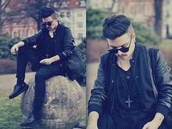 Nicklas Due - Diy Stone Cross Necklace, Carlings Copenhagen Wool/Leather Jacket, Diy Black Shredded Shirt, Cheap Monday Black Jeans, Dr. Martens Black Leather Shoes - #32