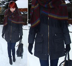 Justyna * - No Brand Name Winter Scarf, Zara Winter Coat, New Yorker Jeans, Poland, łańcut Winter Shoes, House Black Bag, Camaieu Black Leather Gloves - Heavy winter, last part (i hope)