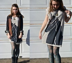 Tash P - Buddha Necklace, Textile Denim Jacket, Think Closet Unicorn Dress, Forever 21 Teal Lace Tights, Back Lace Ups - The Last Unicorn