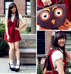 Jen L - Heart Necklace, Vintage Red Jumper, Thrifted White Satin Blouse, Mary Jane Heels, White Ruffle Socks, Owl Backpack, Black And White Heart Headband - Owl see you later!