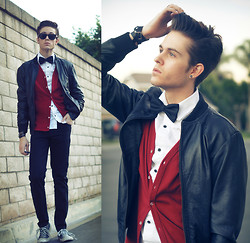Adam Gallagher - Bowtie, Leather Jacket, Red Vest - Heart & home