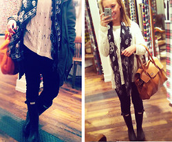 Sofia Lindell - Alexander Mcqueen Scarf, Hunter Boots, Rugby Ralph Lauren Jeans, Monki Knit, Tiger Of Sweden Bag - I'm in love with my Alexander Mcqueen scarf