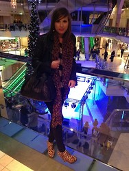 Irena D - All Saints Leather Jacket, Alexander Wang Bag, Louis Vuitton Scarf, Topshop Top, Topshop Jeans, Madrid Store Shoes - Manchester Loves Fashion Show