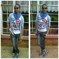Bongani Tau - Birlin Sunnies, Jay Jays Snood, Art Industry Grey Cardigan, Sportscene Graphic T Shirt, Meltz Jeans, Mr Price Boat Shoes - In with the new and in with the old