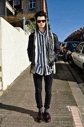 Louis Clarke - Reading Festival 60s Sunglasses, American Apparel Salt And Pepper Hoody, Shoreditch London Leather Jacket, Vintage Shop Striped Shirt, Cheap Monday Skinny Jeans, Dr. Martens Doc - SAN FRANSISCO.