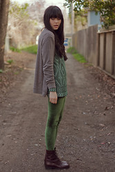 Danielle Payton - American Apparel Cardigan, Vintage Sweater, American Apparel Velvet Legging, Madewell Boots, Secondhand Turtleneck - Distance