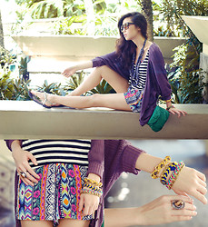 Kryz Uy - Ianywear Violet Cardigan, Island Girl Necklace, Island Girl Sandals, Extreme Finds Braid Bracelets, Quirkypedia Chain Braid Bracelet - Let me at it