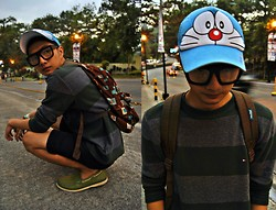 Levin Beren - Thrifted Doraemon Cap, Folded And Hung Thick Rimmed Glasses, Jansport Back Pack, Tommy Hilfiger Knitted Sweatshirt, Sperry Boatman Shoes - Nobita x Doraemon