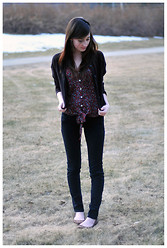 Caitlin Elise - H&M Black Cropped Cardigan, Pacsun Sheer Floral Print Top, H&M Black Skinny Jeans, Pacsun Light Brown Cutout Flats - I don't mind.