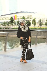 Dalillah Ismail - Thrifted Chiffon Blouse, Online Shop Animal Print Scarf, Online Shop Dove Print Jumper, New Look Black Tote - Mixed prints