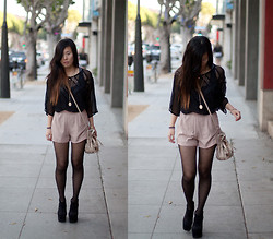 Grace H - Jeffrey Campbell Cuffed, Urban Outfitters Embellished Bucket Bag, Shakuhachi Sheer Top - You're my kryptonite.