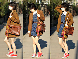 Jessica M. - Vintage Satchel, Converse Red, Joy Spotty Dress, River Island Blazer - Brown Satchel