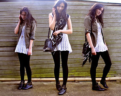 Laura E - Miss Selfridge Slouch Bag, Skull Scarf, Italian Market White Lace Dress, Primark Black Ankle Boots - Lace and studs