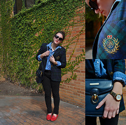 Katherine Pearce - Thrifted Plaid Blazer, Thrifted Chambray Skirt, Polo Ralph Lauren Vintage Leather Bag, Thrifted Basket Weave Loafers - Prep School