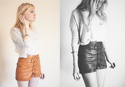 Catherine P - Lace Up Leather Shorts, Wilfred Heathered Boxy Tee, Tomtom Jewelry Chevron Aura Cuff - Final Fantasy heroine