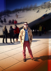 TotesFerosh ! - Tommy Hilfiger Camel Toggle Coat, H&M Chambray Button Down, American Eagle Sun Wash Red Chinos - Walking on the Cloud Gate