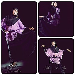 Cut Radhiah Swadia - Black Skirt, Batik Pekalongan, Jilbab Paris - Dancing with black and purple