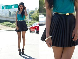 Sheryl L - H&M Pleated Skirt, L.A.M.B Caitlyn Wedges - All Dressed Up