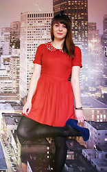 Dominika L. - Asos Red Drees With Sutured Pearls, Fleq.Pl Blue Platform - It's just a red dress with pearls