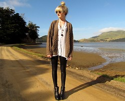 Amy Dunn - Topshop Sunglasses, Vintage Grandpa Cardigan, Leather Look Pants, Topshop Wedges - Cable knit