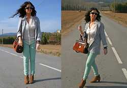 Fasionable Room By Maria - Tous Ring, Stradivarius Blazer, Pull & Bear Pants, Vintage Bag, Blanco Booties, Forever 21 Blouse, Ray Ban Sunglasses - Mint